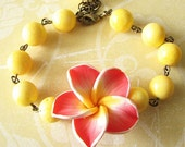 Flower Bracelet Yellow Jewelry Yellow Bracelet Bridesmaid Jewelry Coral Bracelet Charm Bracelet Beadwork