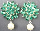 Bridal Jewelry Stud Earrings Rhinestone Wedding Jewelry Green Emerald Drop Earrings Flower Earrings Bridal Earrings Bridesmaid Gift Set