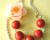 Statement Necklace Red Coral Jewelry Flower Necklace Bridesmaid Jewelry Bib Necklace