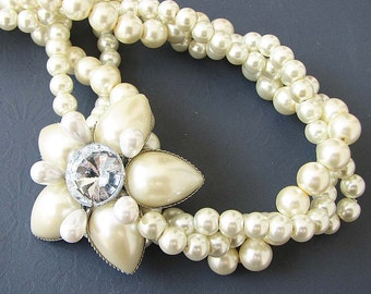 Twisted Pearl Necklace Bridal Jewelry Set Wedding Necklace Wedding Jewelry Flower Statement Necklace Bridesmaid Gift Multi Strand