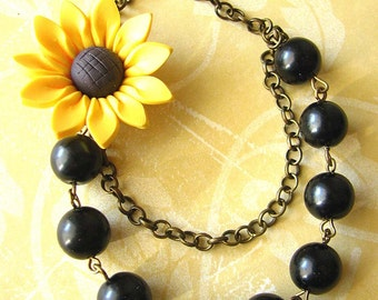Sunflower Necklace Black Pearl Necklace Sunflower Jewelry Bridesmaid Jewelry Gift For Her Beaded Necklace