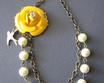 Bridesmaid Jewelry Flower Necklace Yellow Necklace Statement Jewelry Pearl Necklace Gift Beadwork