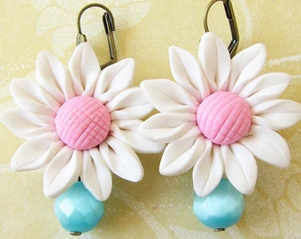 Flower Earrings Drop Earrings Daisy Jewelry Dangle Earrings White Earrings Turquoise Jewelry Bridesmaid Gift
