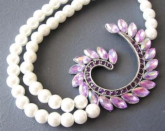 Bridal Jewelry Statement Necklace Wedding Jewelry Purple Necklace Wedding Necklace Bridesmaid Gift