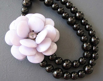 Bib Necklace Black Jewelry Statement Necklace Flower Necklace Grey Beaded Necklace Double Strand