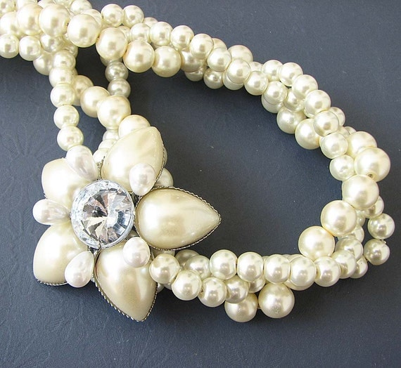 Twisted Pearl Necklace Bridal Jewelry Wedding Necklace Wedding Jewelry Flower Statement Necklace Bridesmaid Gift Multi Strand