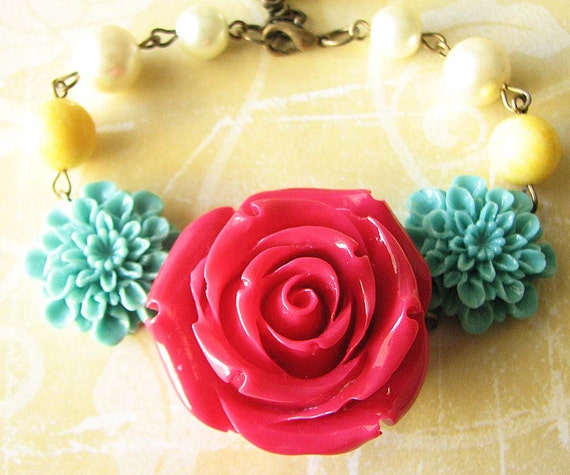 Beaded Bracelet Flower Bracelet Bridesmaid Jewelry Red Bracelet Rose Jewelry Charm Bracelet Bridesmaid Jewelry