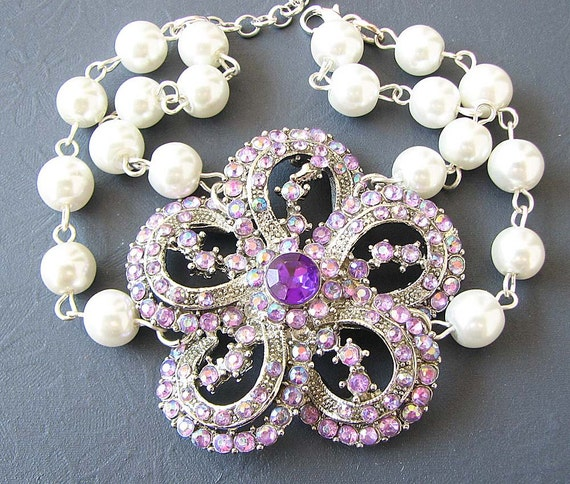Bridal Bracelet Purple Wedding Jewelry Flower Rhinestone Bracelet Bridal Jewelry Wedding Bracelet