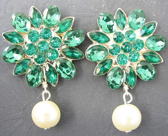 Bridal Jewelry Stud Earrings Rhinestone Wedding Jewelry Green Emerald Drop Earrings Flower Earrings Bridal Earrings Bridesmaid Gift Set