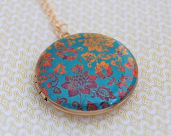 Art Locket Necklace Gold and Turquoise Vintage Inspired Floral Wallpaper Print