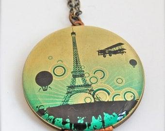 Paris Eiffel Tower Vintage Art Locket Necklace France Europe