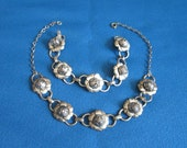 Vintage Beautiful Coro Silver Roses Necklace and Bracelet Set