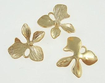 10 - Matt Gold Orchid flower four petal connector charm,  pendant  - Medium - Lead free, Nickel free