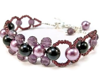 Purple Beaded Bracelet, Pearl Bracelet, Bead Weaving, Glass Pearls, Purple and Black Beads, Toggle Clasp Closure