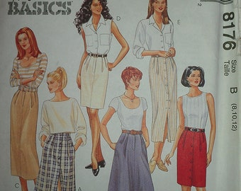 Basic Skirts A Line or Straight in two lengths McCalls 8176 8 10 12