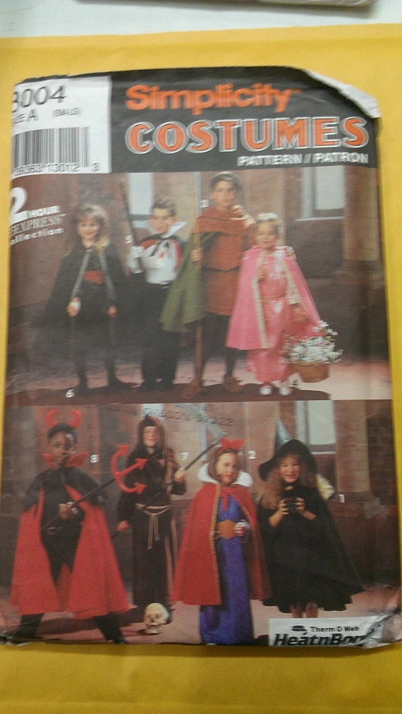 Child Cape Snow White Devil Witch Monk Robin Hood Riding Hood Vampire Dracula Simplicity 8004