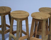 """Ready to Ship... Reclaimed Rustic and Recycled 28"""" Oak Barn Wood Bar Stools"""