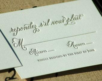 Letterpress Wedding Invitations  DEPOSIT Taupe Blush