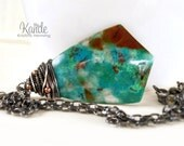 Turquoise Blue Chrysocolla Large Stone Statement Necklace Brown Green Wire Wrap Pendant Silver Gemstone Kande Jewelry For Her Boho Fashion