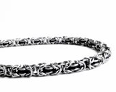 Thin Chainmaille Bracelet - Black Byzantine