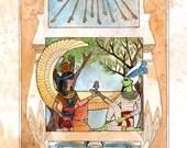 Eternal Lovers - Ancient Egyptian Mythology Inspired Illustration
