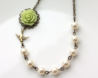 Green Rose Flower, Ivory Pearls Necklace. Bridesmaids Gifts. Sis, Bff. Vintage Inspired. Rustic Green Wedding. Flying Swallow Bird Necklace.