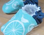 Blue Birdie Reversible Baby Shoes