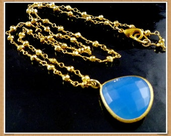 Handmade Gold filled Teardrop Bezel Set Chalcedony Gemstone Necklace and Earrings - Free U.S. Shipping