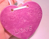 LOVE Ornament  Wedding Favor Porcelain Heart Orchid Fuchsia Stamped Lacy