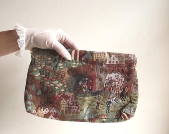 70s Clutch Handbag Vintage Tapestry Style Purse