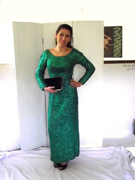 Sequin Dress. Vintage 60s Evening Wear. Royal Lynne Formal Wear. Green Shimmer in Silk. Vixen Va Voom