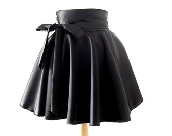 Wet Look Skater Skirt, High Waisted Skirt, Satin Rockabilly Skirt, Black Swing Skirt, Retro Circle Skirt, Size:UK 4-22/US 0- 18