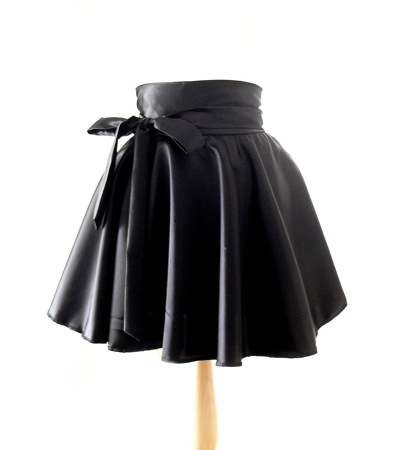 Wet Look Skater Skirt High Waisted Skirt Satin Rockabilly