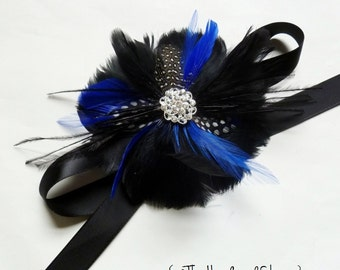 Black and Royal Blue Feather Wrist Corsage with Black White and Blue Feathers - COLWELL