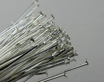 300 Sterling Silver plated FLAT headpins Head Pins T Pins - 2 inch(50mm) 22Gauge 22G - from California USA