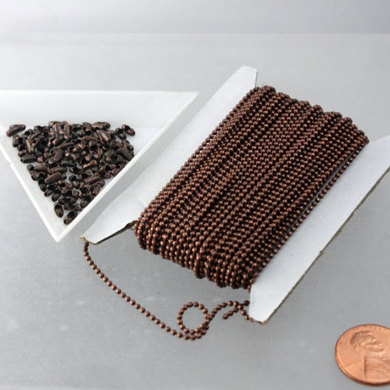 100 feet Antique Copper Chain BALL chain Necklace Bracelet bulk chain - 1.5mm ball size with 100 pc of connector(insert) - Wholesale