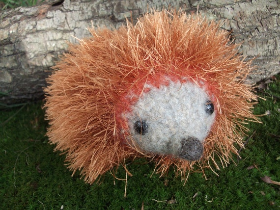 Hedgehog plush toy, hedgehog toy, hand knit felted hedgehog, hedgehog stuffed animal, woodland nursery decor, made to order