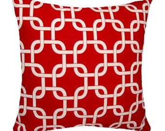 Red Throw Pillow - Gotcha Red Chain Link Decorative Pillow Free Shipping