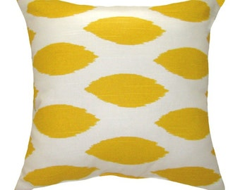 CLEARANCE - Ikat Throw PIllow, Yellow Ikat Accent Pillow, Modern Yellow and White Stuffed Pillow, Chipper Corn Yellow Pillow - Free Shipping