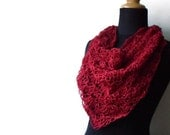 A Bit of Lace Hemp Triangle Scarf in Raspberry Red Made To Order