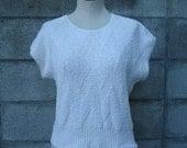 Vintage 1980s Short Sleeve Sweater Cream White