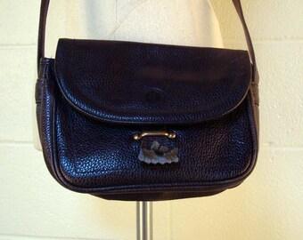 Vintage 1980s Navy Blue Pebbled Leather Purse Perry Ellis