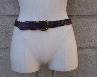 Vintage 1980s Purple Multicolor Braided Leather Belt