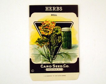 Antique Seed Packet Vintage 1920s Unused Paper Seed Packet Herbs Dill