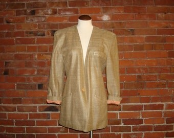 Vintage 1980s Ellen Tracy Oversized Boyfriend Blazer Raw Silk Tan