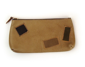 Patchwork leather Clutch Vintage 1960s Pouch Zipper Purse