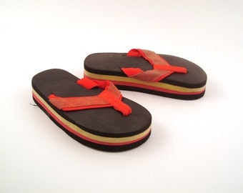 1980s Flip Flops Vintage Thongs Red and Yellow Sandals Kid's size 13