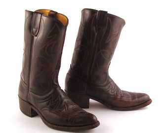 Men's Cowboy Boots Vintage 1970s Durango Dark Dark Brown Leather size 8 1/2