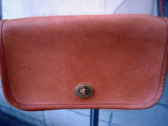Tan Coach Purse Vintage 1980s New York City Small Brown Leather Handbag