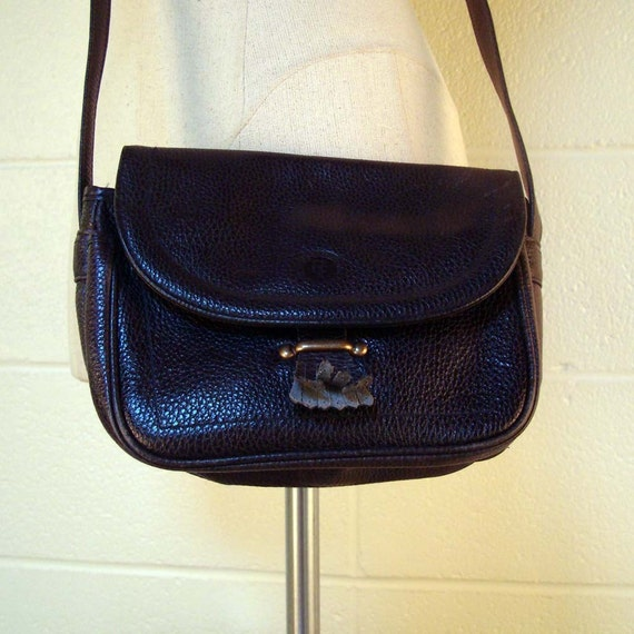 Vintage 1980s Navy Blue Pebbled Leather Purse Perry Ellis
